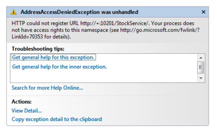 AddressAccessDeniedException Exception