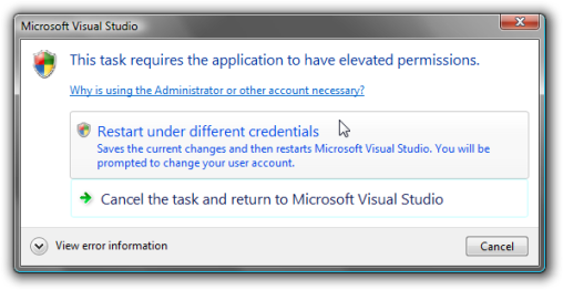 Restart using different Credentials